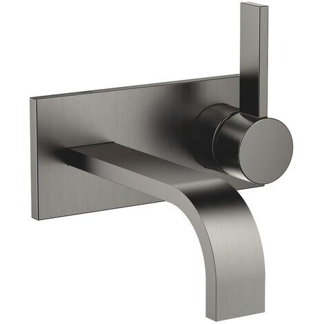 Dornbracht wall-mounted single-lever basin mixer with cover plate, projection 177 mm, colour: dark Platinum matt - 36863782-99