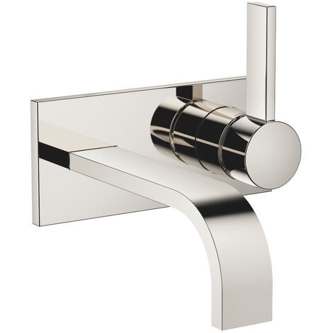 Dornbracht wall-mounted single-lever basin mixer with cover plate, projection 177 mm, colour: platinum - 36863782-08