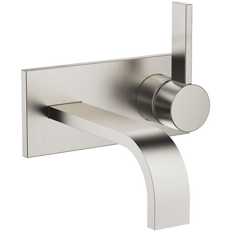 Dornbracht wall-mounted single-lever basin mixer with cover plate, projection 177 mm, colour: Platinum Matt - 36863782-06