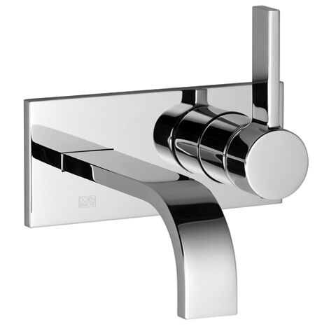 Dornbracht wall-mounted single-lever basin mixer with cover plate, projection 207 mm, colour: Platinum Matt - 36864782-06