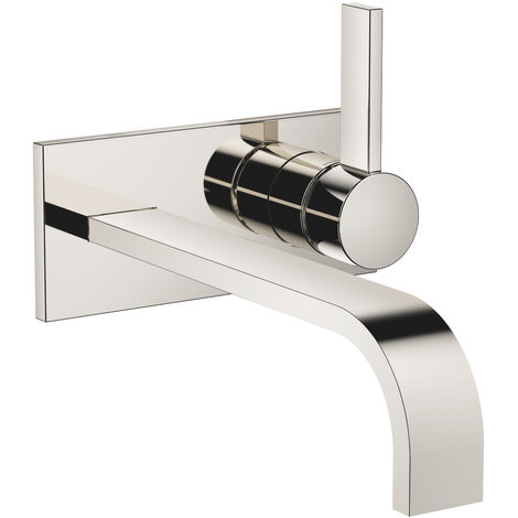 Dornbracht wall-mounted single-lever basin mixer with cover plate, without pop-up waste, projection 247 mm, colour: platinum - 36865782-08