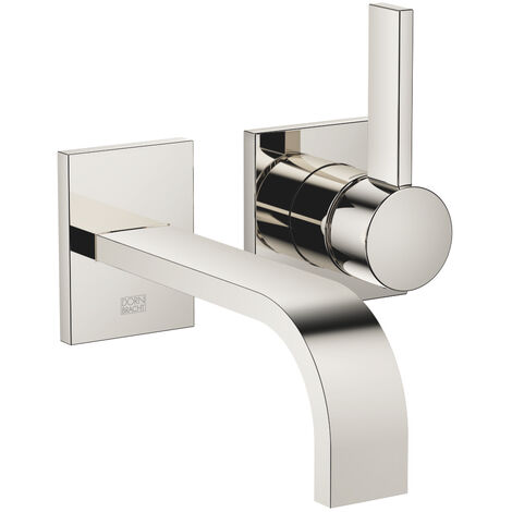 Dornbracht wall-mounted single-lever basin mixer without pop-up waste, projection 177 mm, colour: platinum - 36860782-08