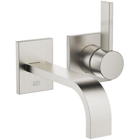 Dornbracht wall-mounted single-lever basin mixer without pop-up waste, projection 177 mm, colour: Platinum Matt - 36860782-06