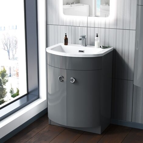 Dorrans 600 mm Grey Vanity Basin Cabinet