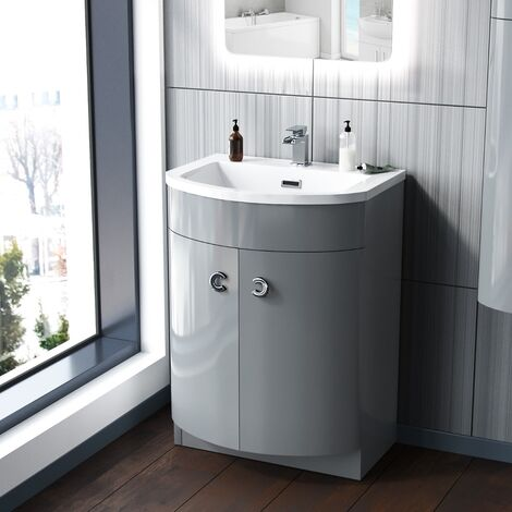 Dorrans 600 mm Light Grey Vanity Basin Cabinet