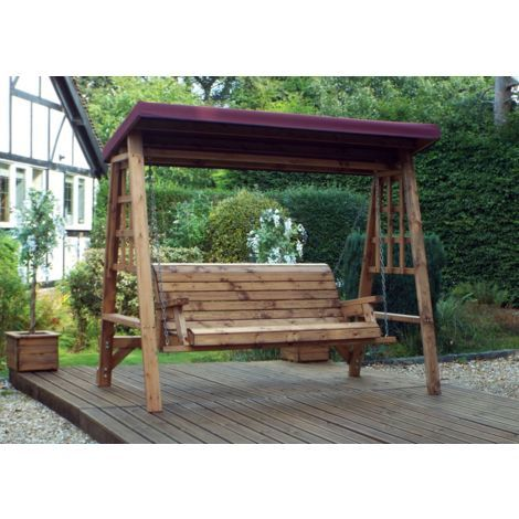 Dorset Three Seat Swing Burgundy Canopy. Burgundy Cushion Set Plus 2 Free Scatter Cushions. Fully Assembled. UK Mainland Only.10 Year Rot Free Guarantee.