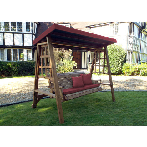 Dorset Three Seat Swing Burgundy - Fully Assembled