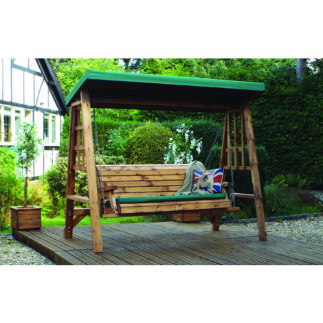 Dorset Three Seat Swing Green Canopy. Green Cushion Set Plus 2 Free Scatter Cushions. Fully Assembled. UK Mainland Only.10 Year Rot Free Guarantee.
