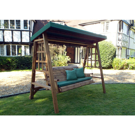 Dorset Three Seat Swing Green - Fully Assembled