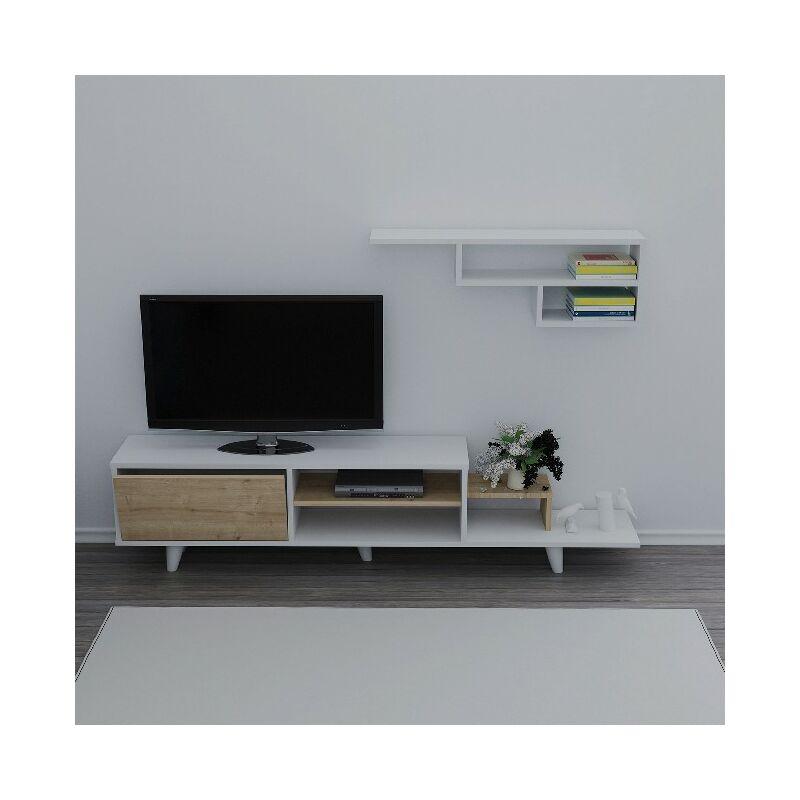Homemania - Doruk TV-Schrank mit Regal, Tueren, Regalen - aus dem Wohnzimmer - Weiss, Eiche aus Holz, 180 x 29,5 x 45 cm