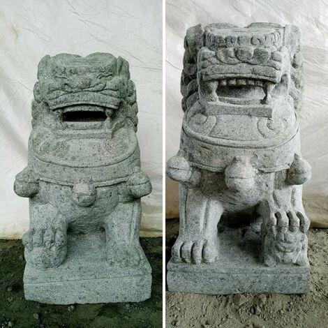 Dos estatuas jardín perro Fu león piedra volcánica 60cm