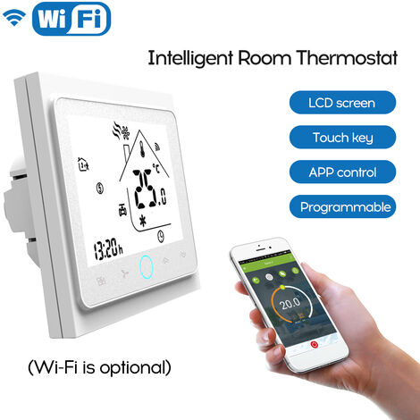 Dos Pipe Wifi voz inteligente Termostato digital programable del regulador de temperatura de aire acondicionado, Blanco, BAC-002ALW