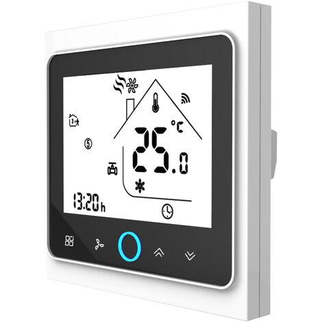 Dos Pipe Wifi voz inteligente Termostato digital programable del regulador de temperatura para el acondicionador de aire (BAC-002ALW, Blanco y Negro)