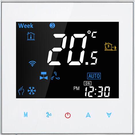 Dos Pipe Wifi voz inteligente Termostato digital programable del regulador de temperatura para el acondicionador de aire (BAC-3000ALW, Blanco)