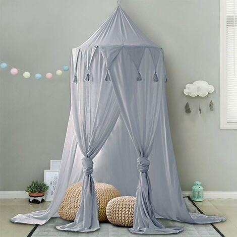 """main image of """"Dosel para cama para niños, dosel para sala de juegos para bebés, para tomar fotografías de alrededor de 240 cm de altura, para colgar en gasa, para decoración de dormitorio, cama y dormitorio (gris)"""""""