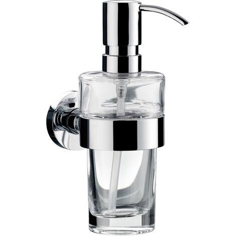 Dosificador de jabón líquido Emco eposa, modelo de pared, recipiente de cristal transparente, bomba dosificadora de metal, aprox. 130 ml, cromado - 082100101