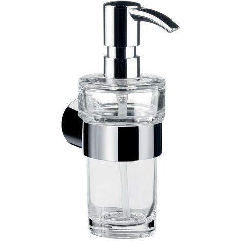 Dosificador de jabón líquido Emco fino, cromado, cristal transparente, bomba dosificadora de plástico, aprox. 130 ml - 842100102