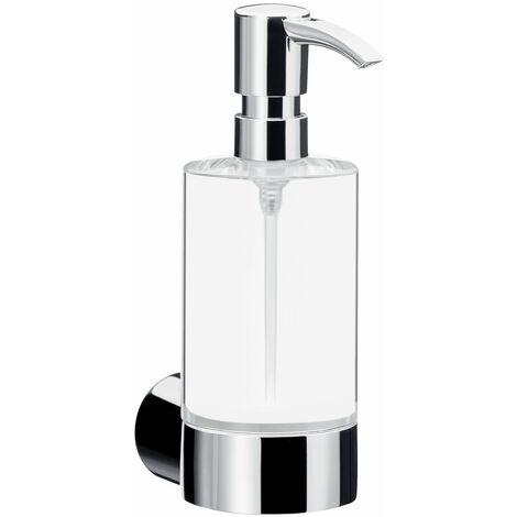Dosificador de jabón líquido Emco fino, cromado, cristal transparente, bomba dosificadora de plástico, aprox. 200 ml - 842100101