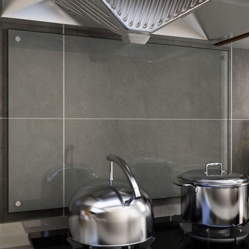 Dosseret de cuisine Transparent 90 x 60 cm Verre trempe