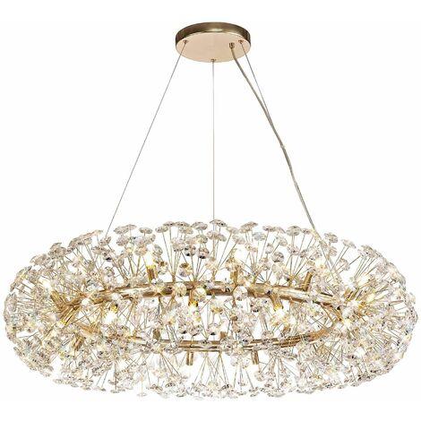 Dotz crystal pendant light 26 bulbs golden 60 cm