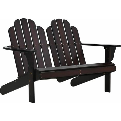 Double Adirondack Chair Wood Brown
