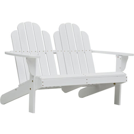 Double Adirondack Chair Wood White