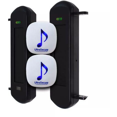Double alerte passage 600m performance - Barrières infrarouges solaires autonomes & 2 carillons sur prise (FX/DA-600)