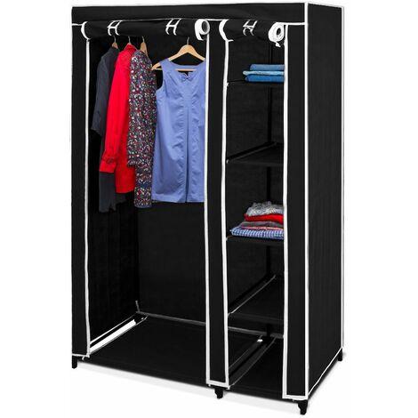 Double armoire penderie tissu Noir 178x110x46cm Meuble de rangement vêtement enfants