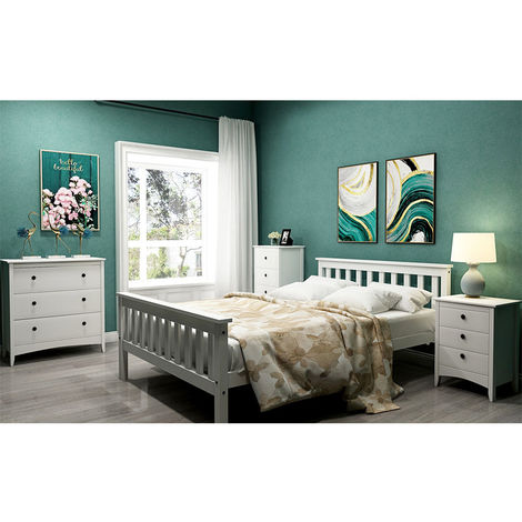 Double bed 140 * 200 solid wood bed pine bed for adults, children, adolescents, white
