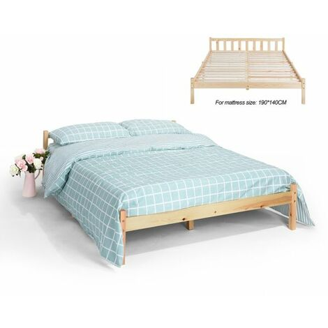 Double Bed Frame, Durable Solid Wood Small Bed with Low Headboard and Footboard Space-saving Design Rustic Style Bedroom Furniture for Children Adult Guest White(198x146x54cm) - Double White