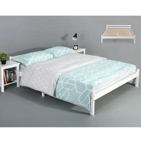 """main image of """"Bed Frame, Durable Solid Wood Small Bed with Low Headboard and Footboard Space-saving Design Rustic Style Bedroom Furniture for Children Adult Guest"""""""