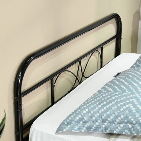 Double bed in black metal, Bed frame for adult children 140x190cm