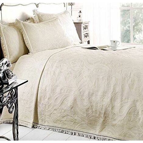 Double Bed Mafalda Cream Bedspread Portuguese Style Sofa Bed Throw Mix Cotton