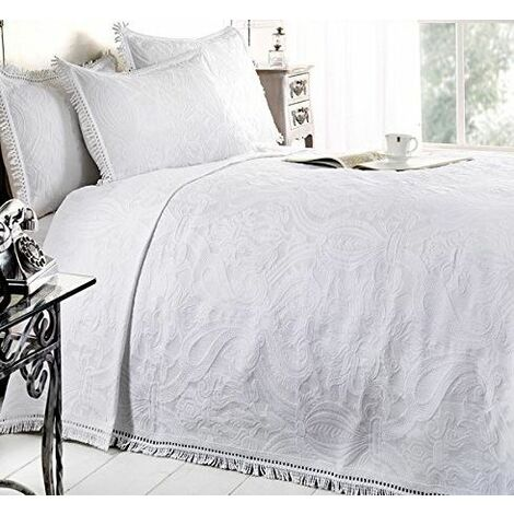 Double Bed Mafalda White Bedspread Portuguese Style Sofa Bed Throw Mix Cotton