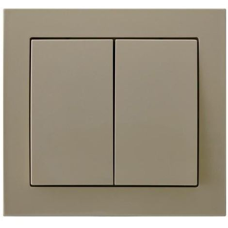 Double Big Button Indoor Light Switch Click Wall Plate Beige