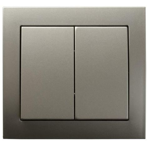 Double Big Button Indoor Light Switch Click Wall Plate Light Satin