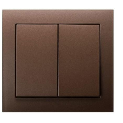 Double Big Button Indoor Light Switch Click Wall Plate Metallic Brown