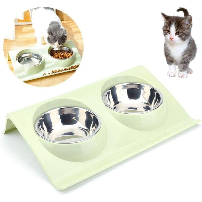 Bares - Double bol à nourriture pour chats, bol à nourriture pour chats, acier inoxydable, bol à nourriture antidérapant, bol à nourriture pour