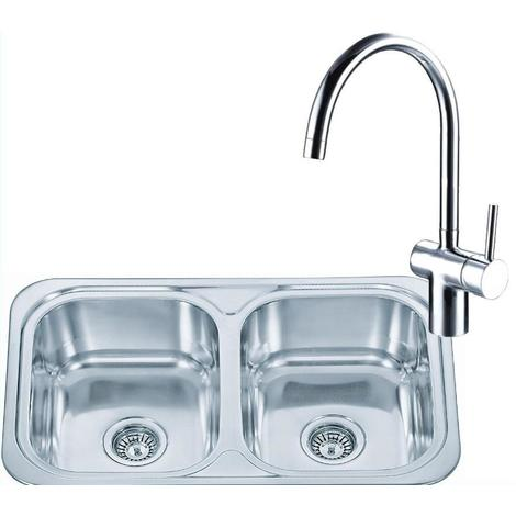 Double Bowl Inset Stainless Steel Kitchen Sink & A Chrome Mixer Tap Set (KST104)