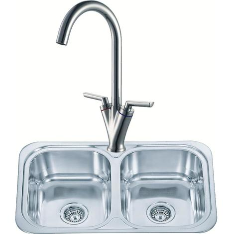 Double Bowl Stainless Steel Inset Kitchen Sink Chrome Mixer Tap
