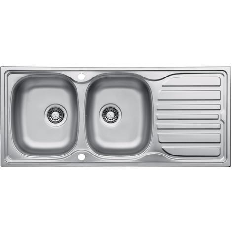 Double Bowl Stainless Steel Inset Kitchen Sink With Drainer & Wastes (LA014)