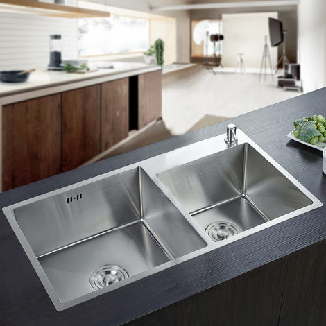 Double Bowl Stainless Steel Square Kitchen Sink, 78 x 43 x 22 cm