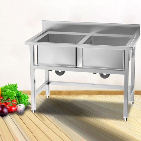 Double Bowls Dishwasher Drainer Stainless Steel Kitchen Waste Sink Filter