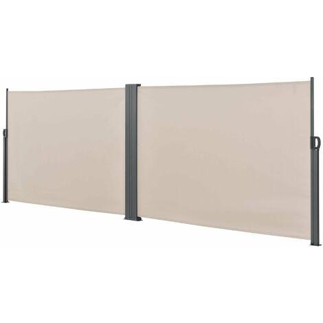Double brise-soleil pare-soleil garde-vue métal et polyester 160 x (2 x 300) cm beige - Beige