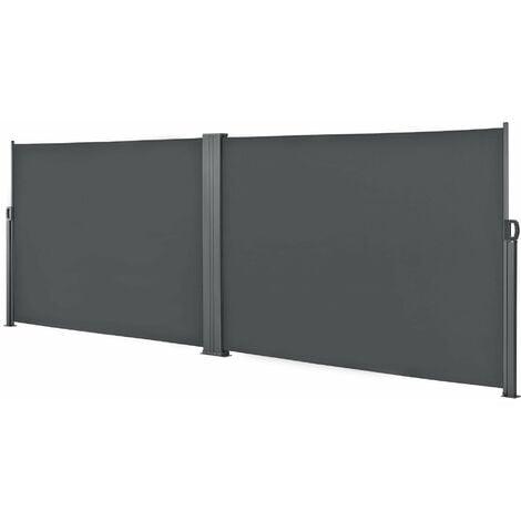 Double brise-soleil pare-soleil garde-vue métal et polyester 2 x 300 cm gris - Gris