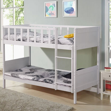 Double Bunk Bed Sleeper Solid Pine Wood Frame Slats 197x97x149cm White