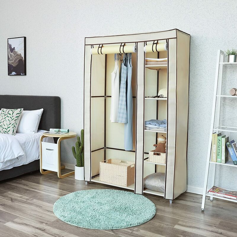 Double Canvas Wardrobe Clothes Storage Organiser Bedroom Furniture Cupboard  with 6 Shelves & Hanging Rail Beige 110 x 45 x 175cm (W x D x H) LSF007M