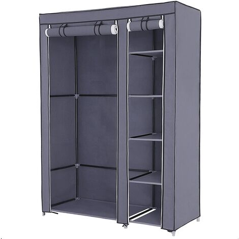 Double Canvas Wardrobe Cupboard Clothes Hanging Rail Storage Shelves Black 175 x 110 x 45cm LSF007