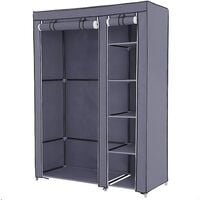 Double Canvas Wardrobe Cupboard Clothes Hanging Rail Storage Shelves Gray 175 x 110 x 45cm LSF007G