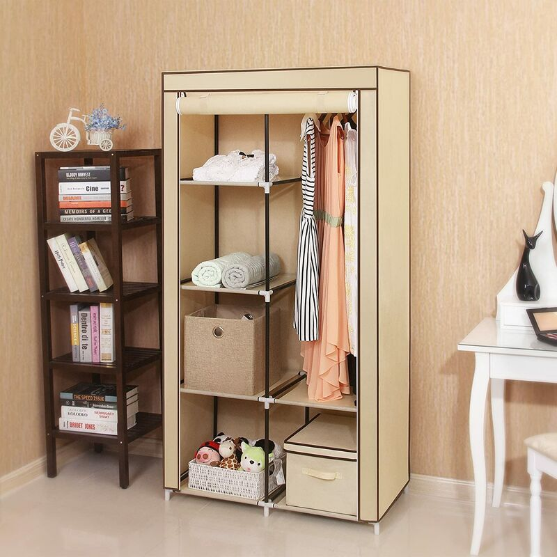 Double Canvas Wardrobe With 2 Hanging Rail Clothes Storage Organiser 7 Diffe Embly Methods For Bedroom 88 X 45 170cm W D H Beige Ryg84m